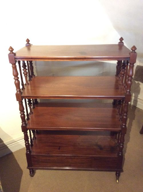 19thc mahogany whatnot 4 tier tagres with drawer