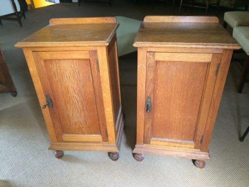 pair of oak bedside cabinets c1920