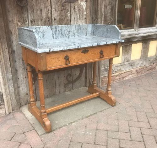 19thc gothic oak marble top washstand