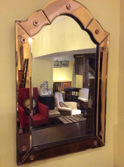 art deco two colour tone bevelled mirror
