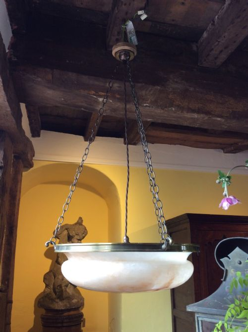 20thc alabaster pendant chandelier light c1920
