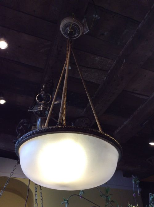 early 20thc frosted glass pendant light