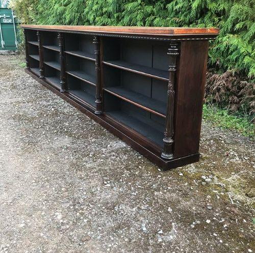 large19thc amboyna rosewood dwarf bookcase