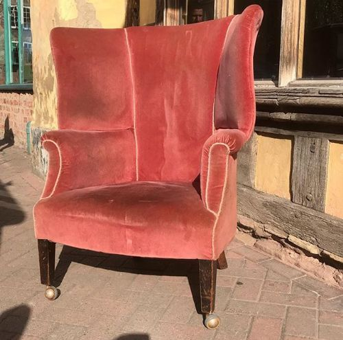 early 19thc barrel back wing armchair