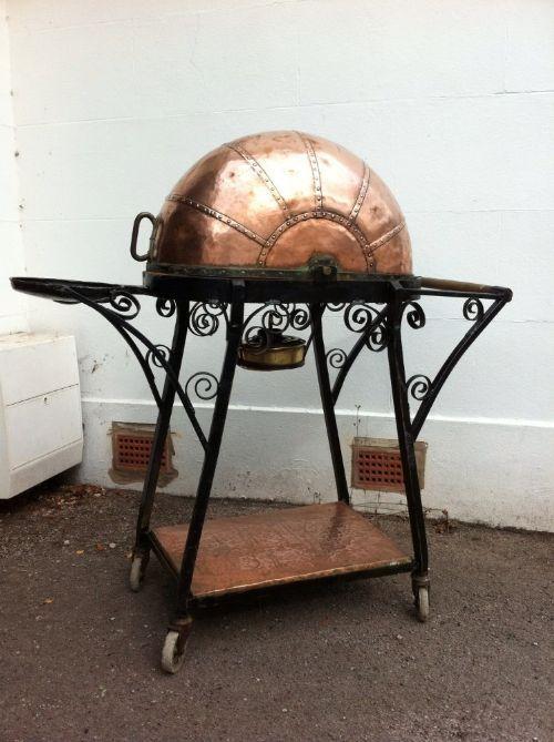edwardian copper steel dinner wagon