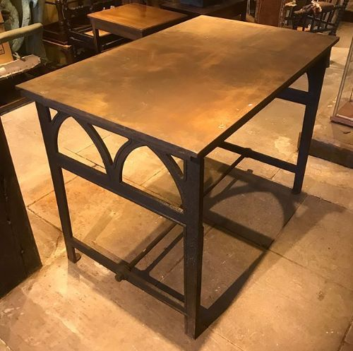 19thc cast iron sheet steel gothic revival table