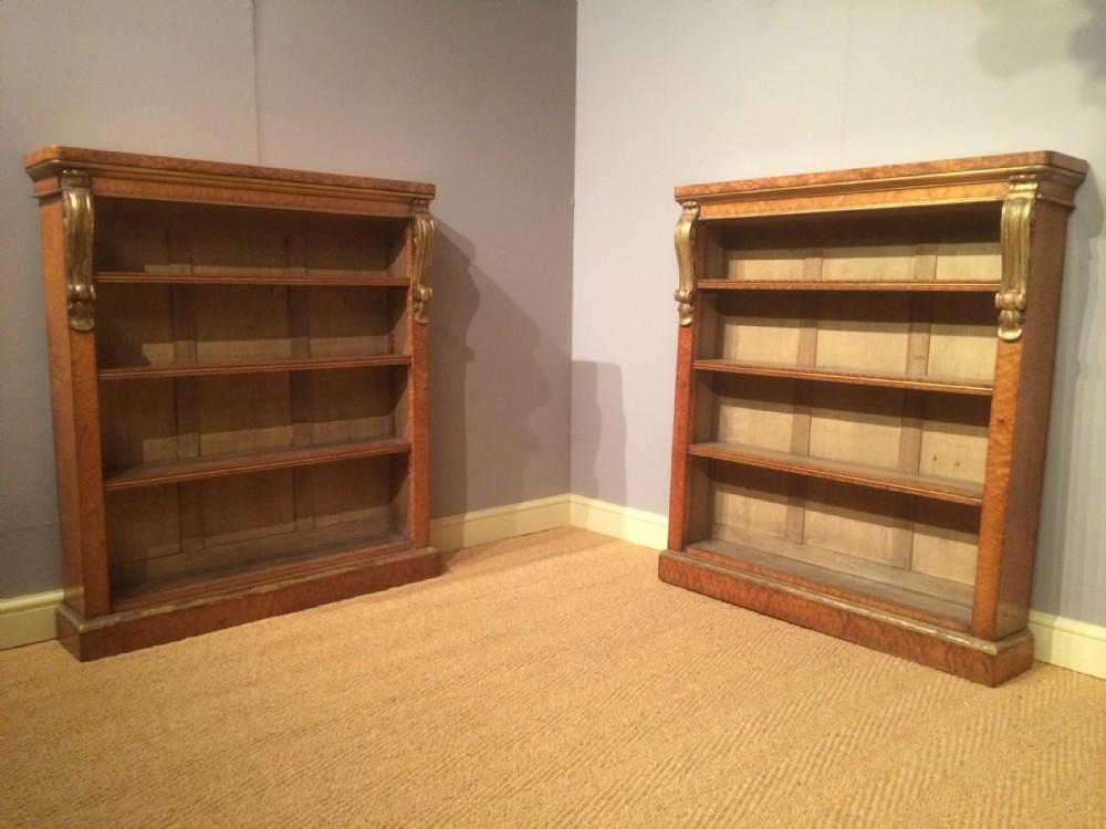 pair of birds eye maple bookcases