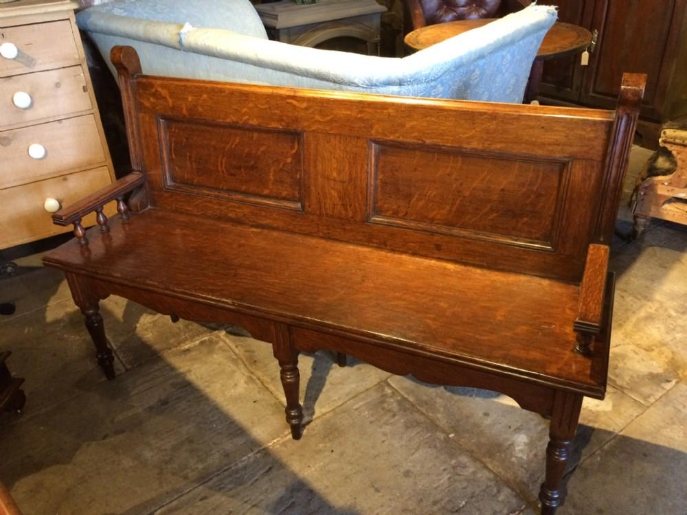 19th c oak hall bench