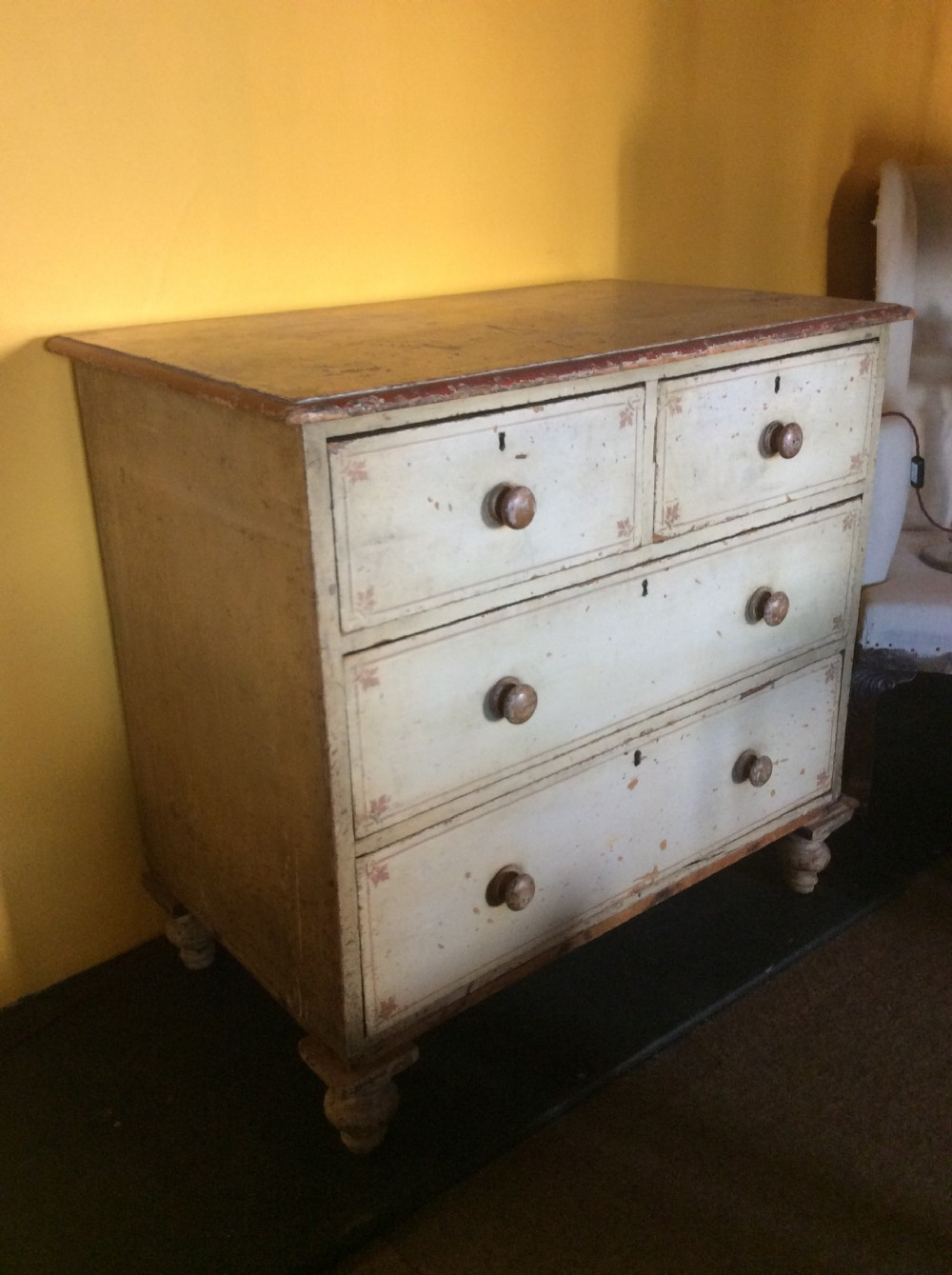 19th c painted pine chest of drawers