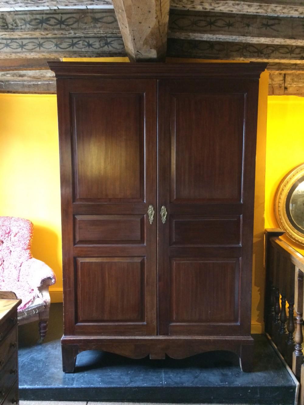 18thc mahogany knockdown wardrobe