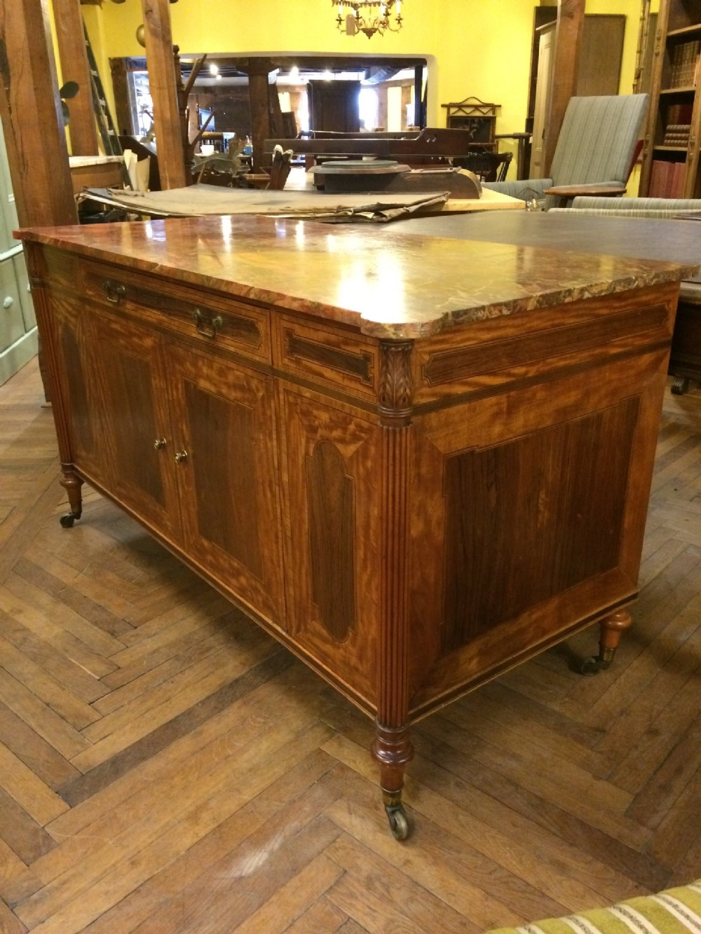 19thc rosewood satinwood mahogany side cabinet with sanguine marble top