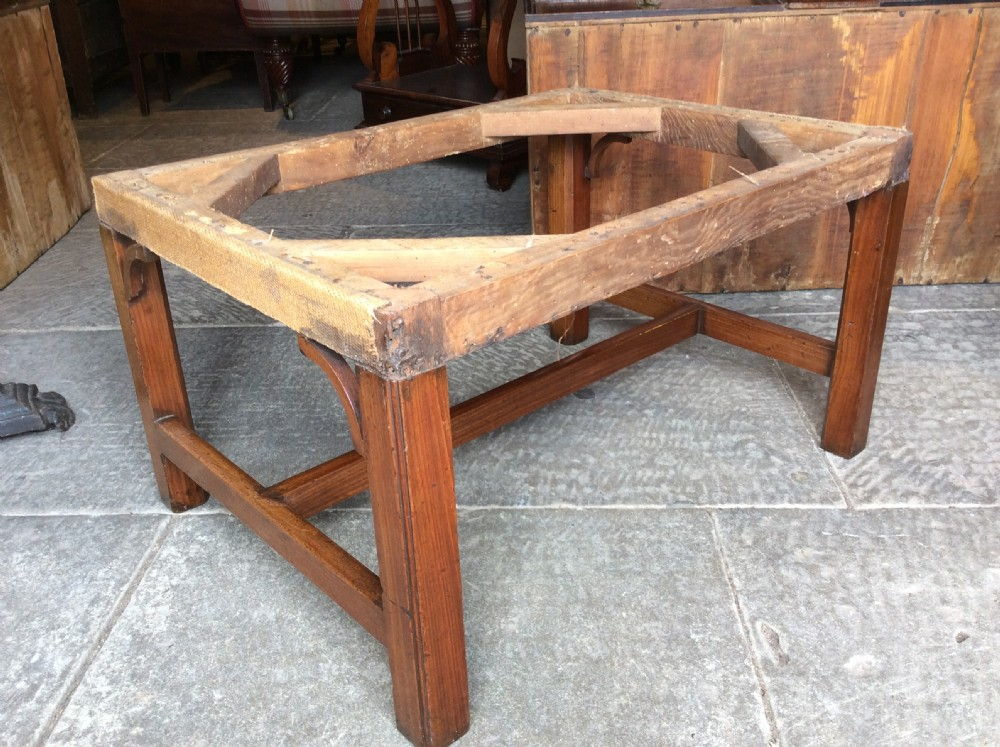18thc english country house oversized mahogany stool for upholstery