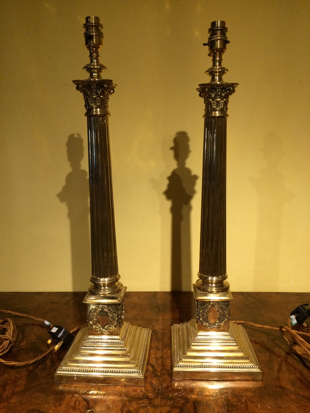 early 20thc pair of brass corythian columns lamp bases