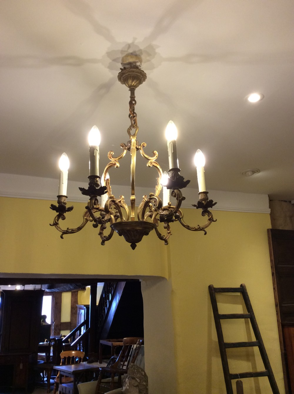 19thc english gilt bronze 6 branch chandelier
