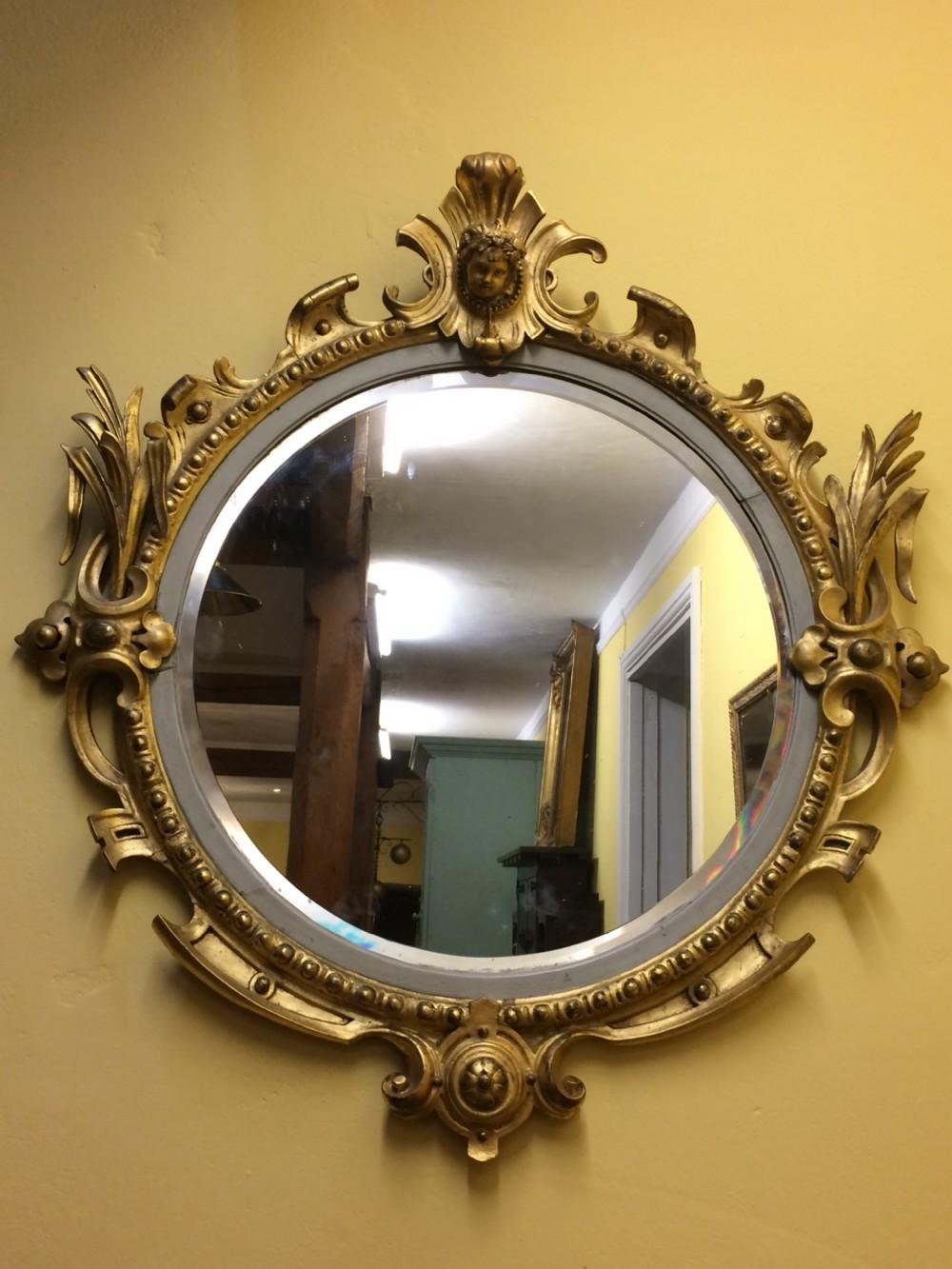 19thc english gilt round mirror