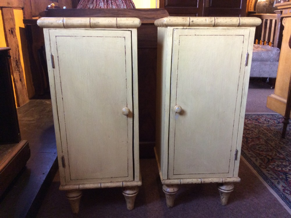 pair of late 19thc painted cupboards with faux bamboo details