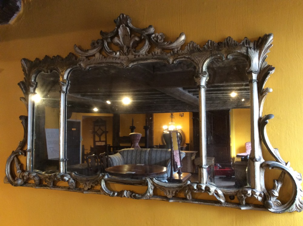 19thc carved gilt three section mirror
