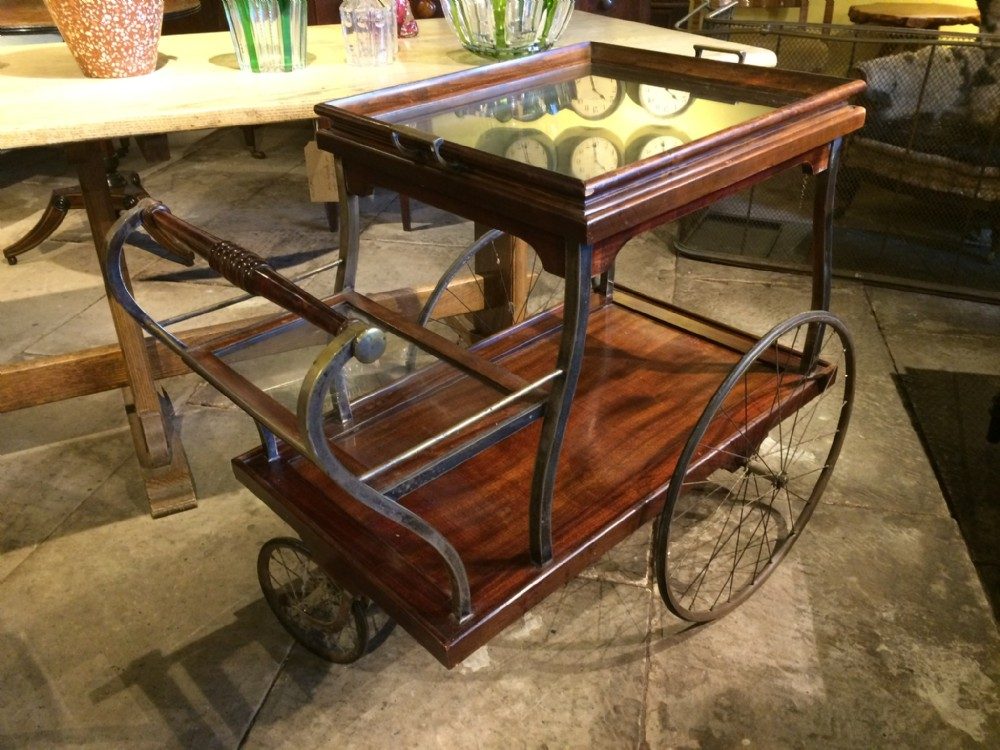 1920s drinks trolley in mahogany and silver plate