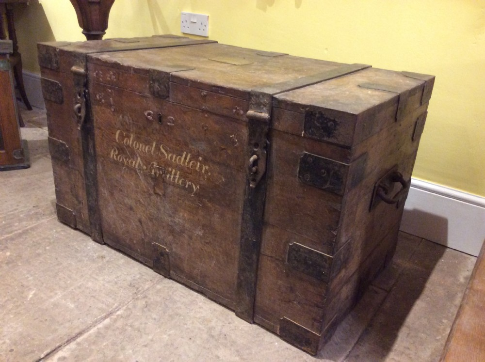 19thc oak iron bound silver chest