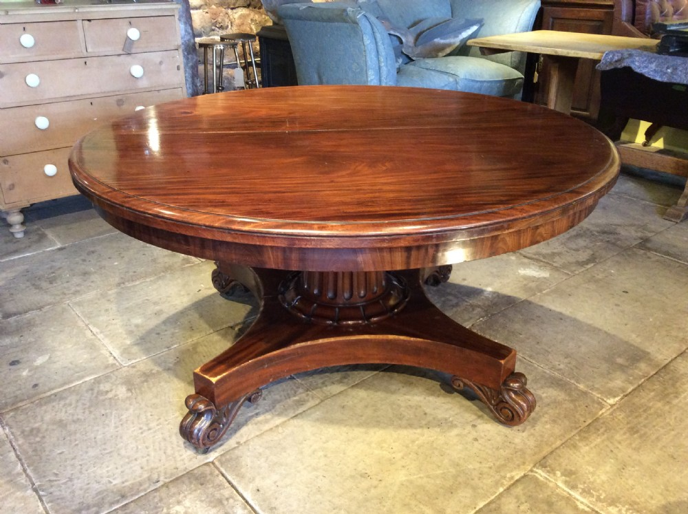 19thc mahogany extending dining table with original leaves