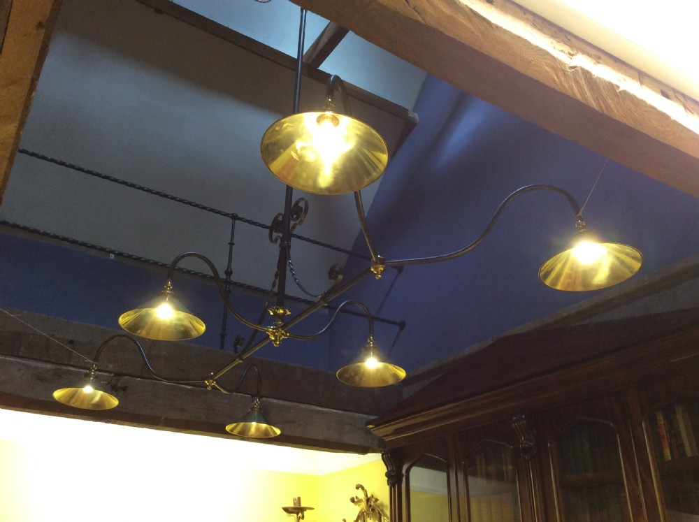 19thc gasolier conversion billiardkitchen six branch steel and brass light