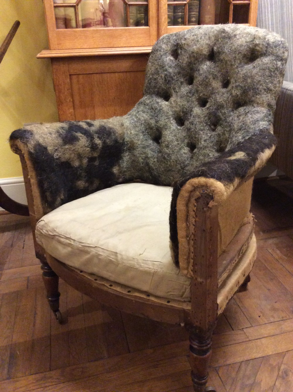 19thc regency simulated rosewood armchair for upholstery