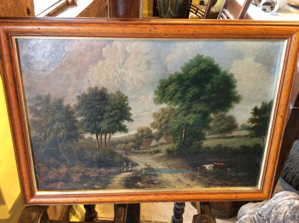 19thc oil painting of country landscape