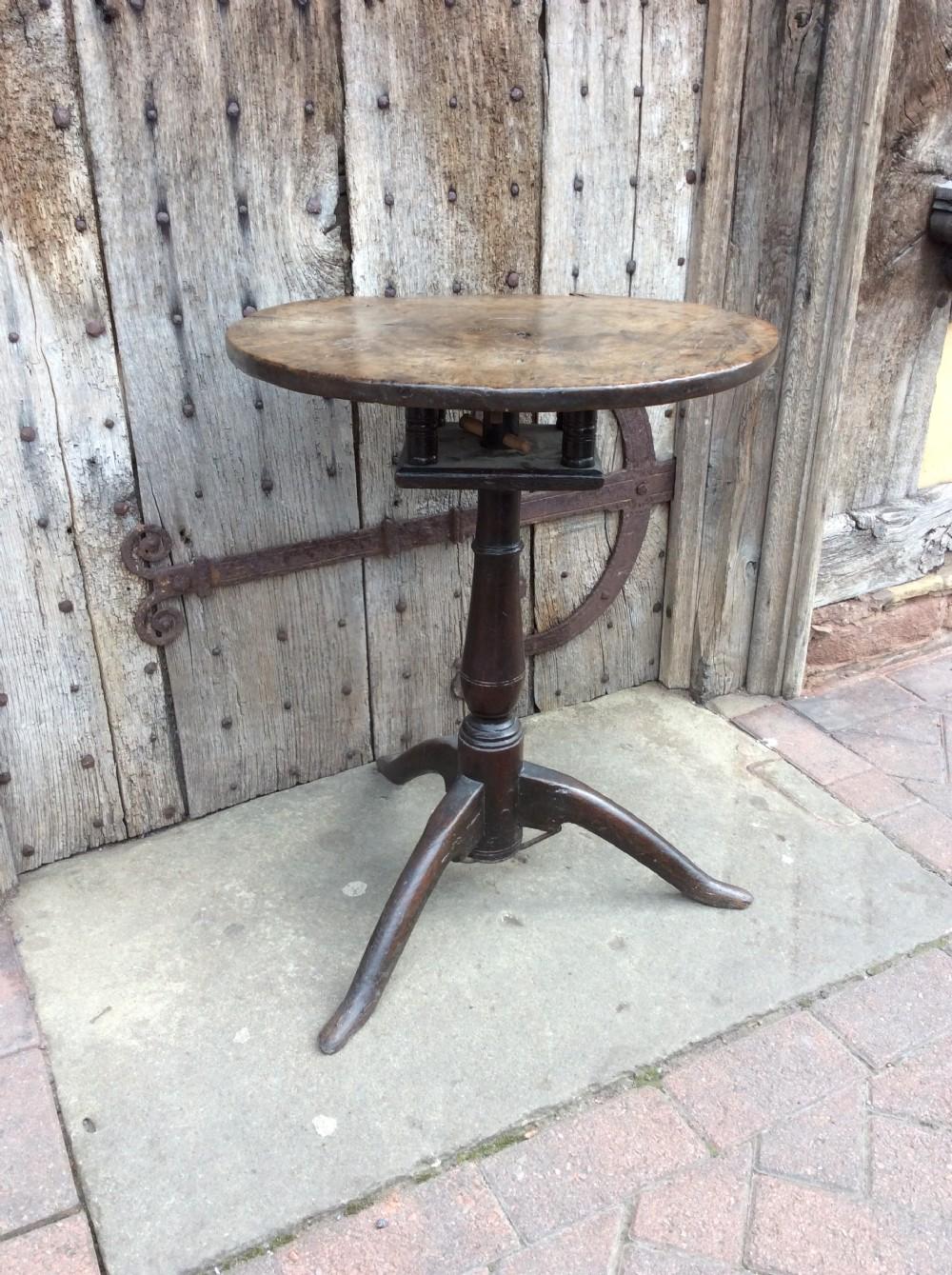 18thc oak primitive tripod table with birdcage