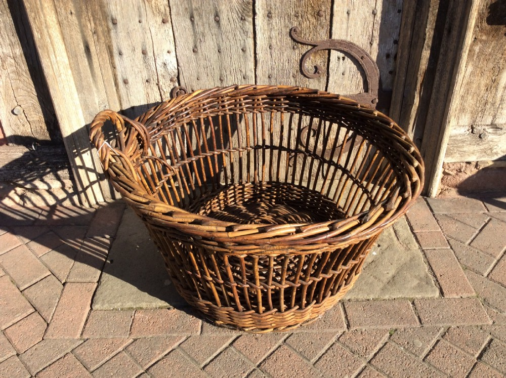 victorian log basket with great colour