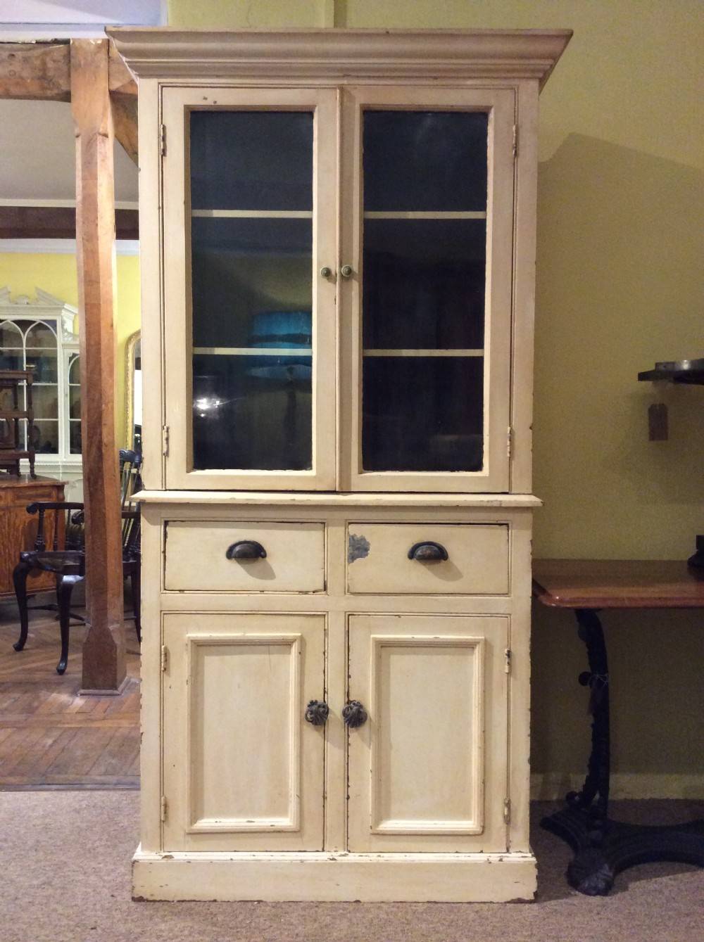 19thc painted pine glazed cupboard