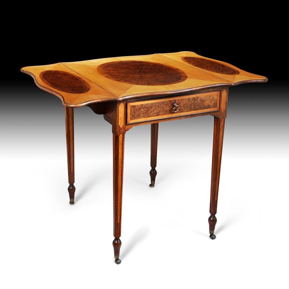 18th century george iii satinwood and pollard oak pembroke occasional table