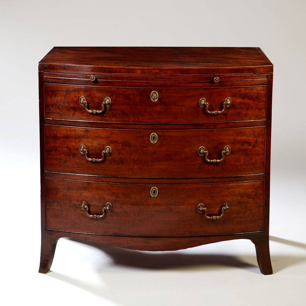 george iii sheraton period bowfronted caddy topped mahogany chest of drawers