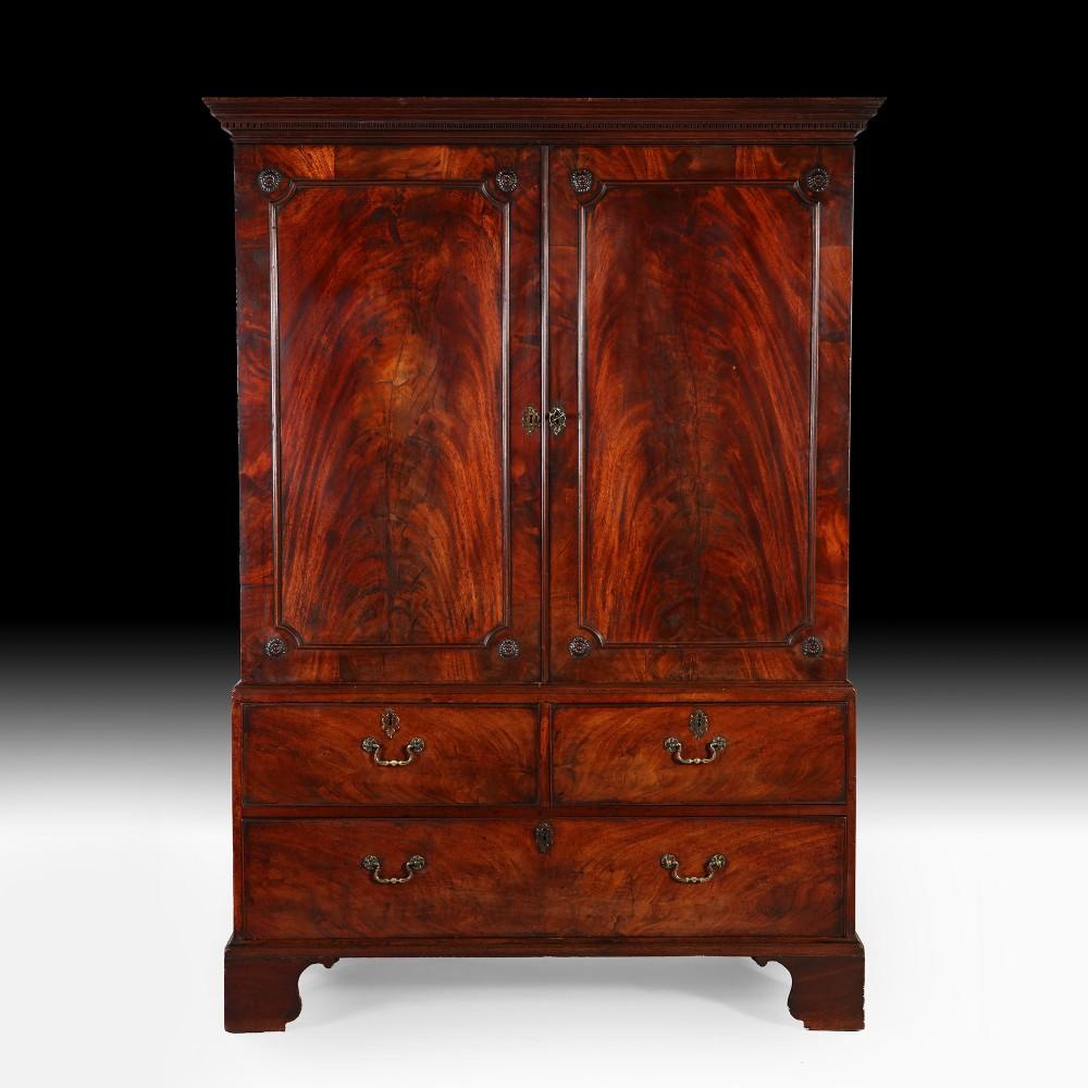 george iii mahogany linen press wardrobe