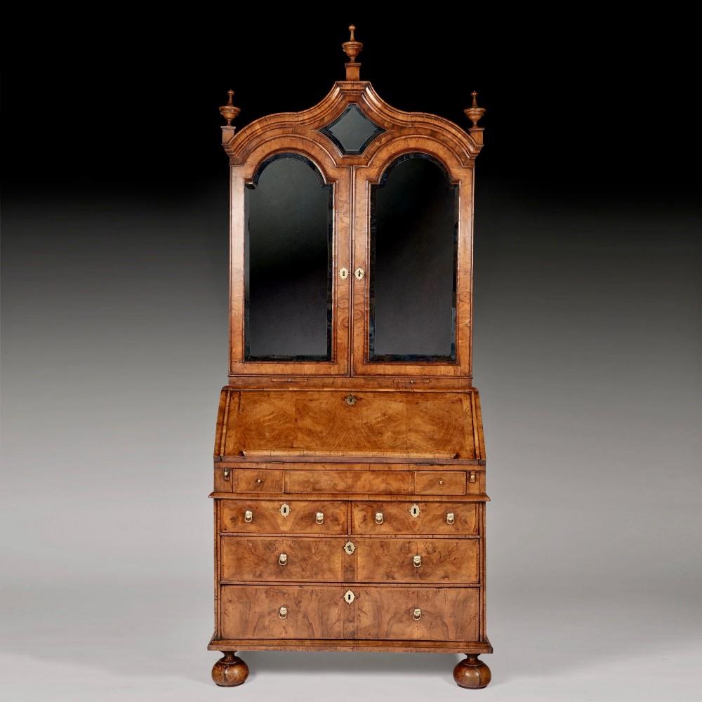 early 18th century george i figured walnut bureau bookcase circa 1720
