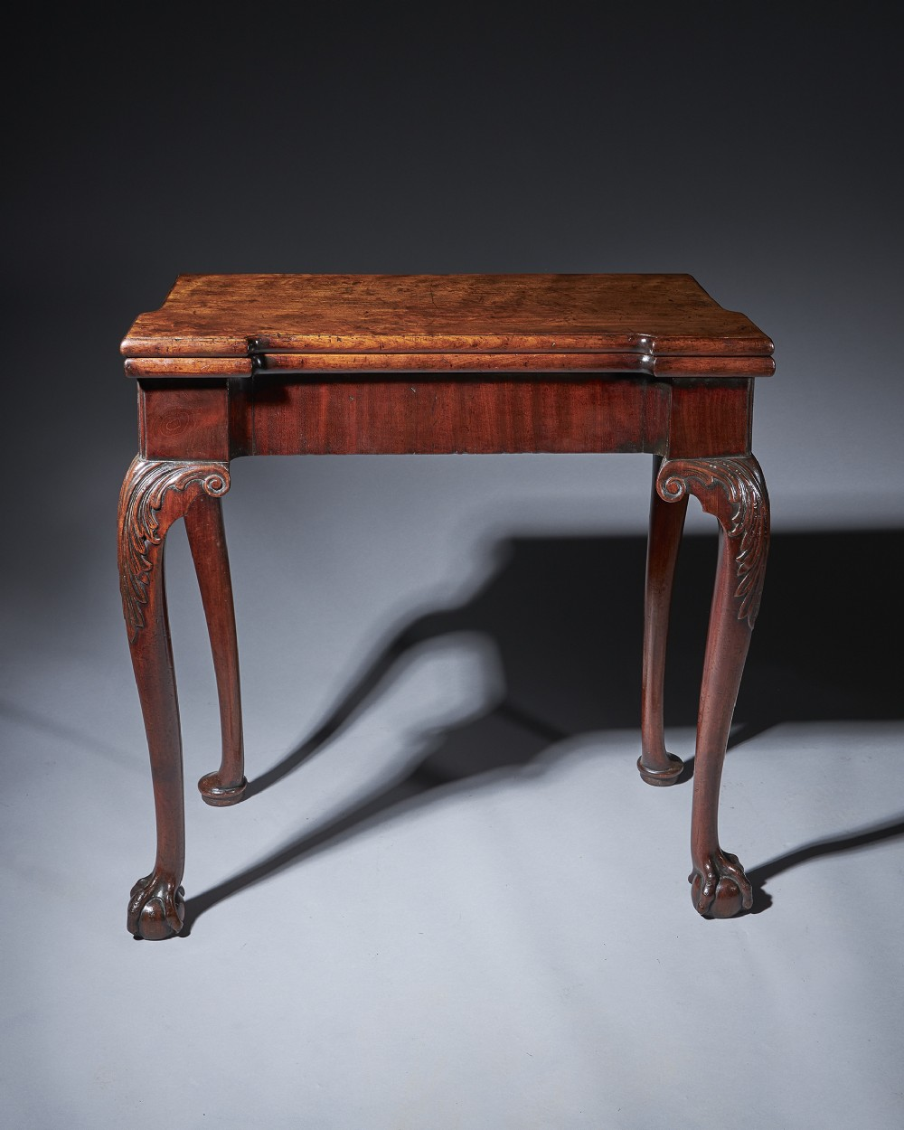 a fine irish mid 18th century carved mahogany console card table