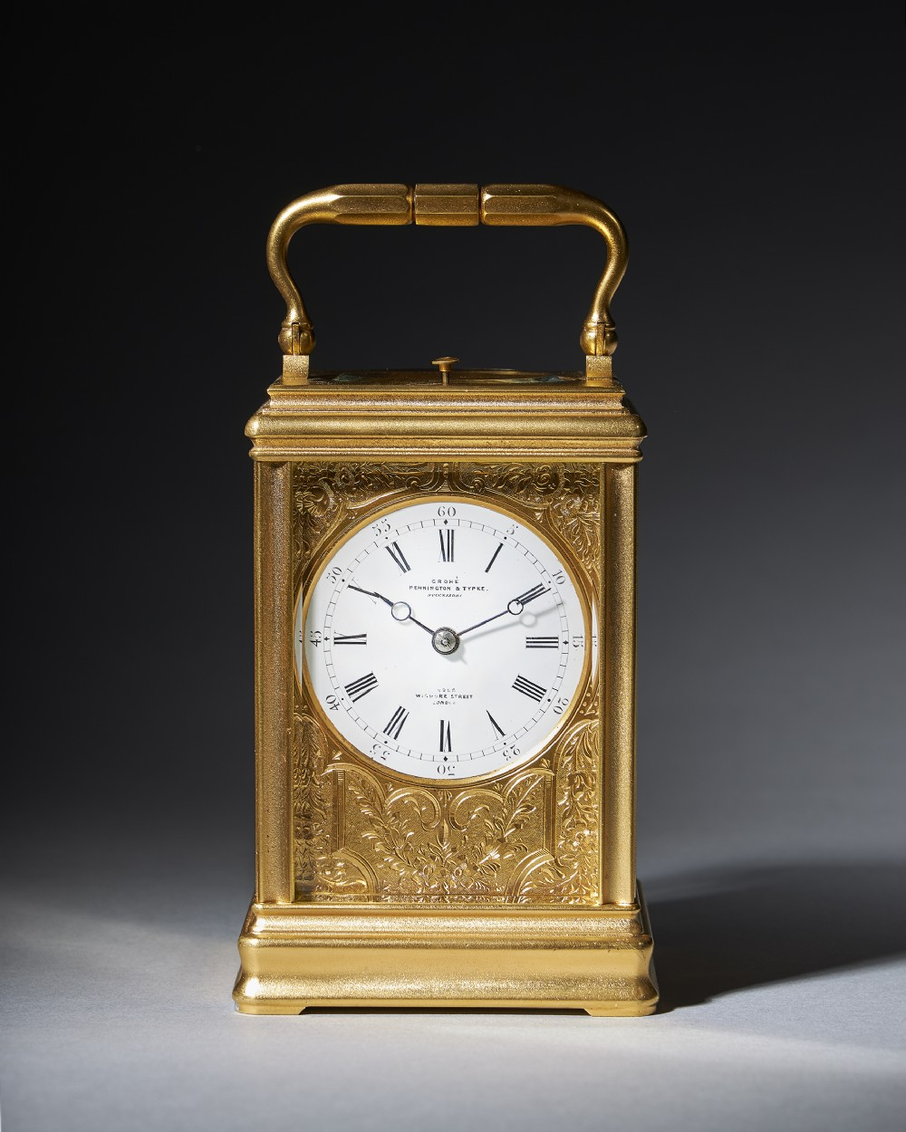 19th century repeating giltbrass carriage clock by the famous drocourt