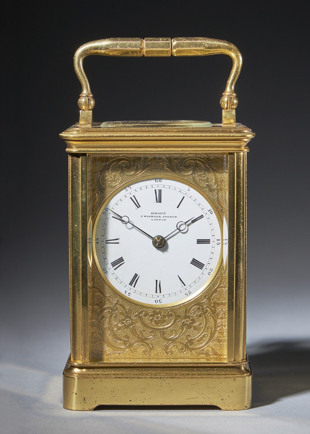 striking 19th century carriage clock with a giltbrass corniche case by groh