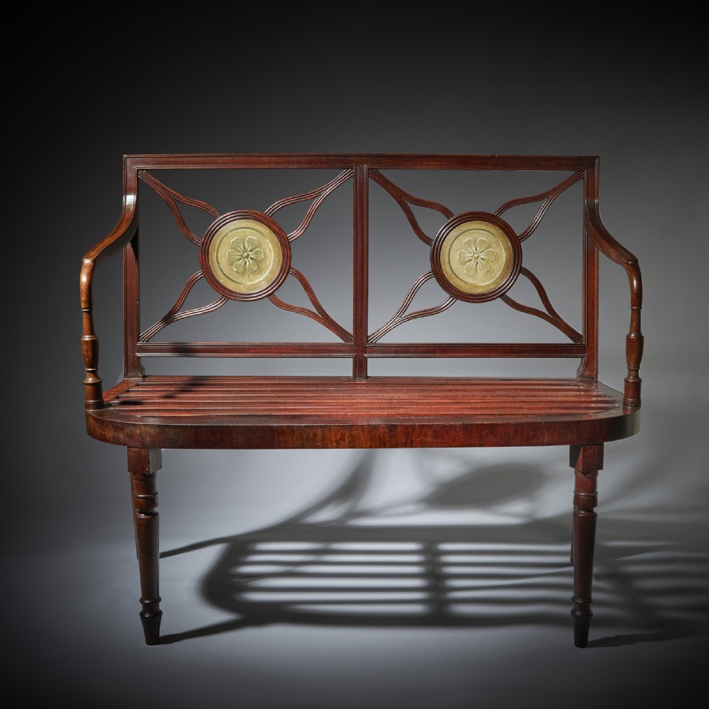 a superb late george iii 18th century mahogany hall bench window seat armchair