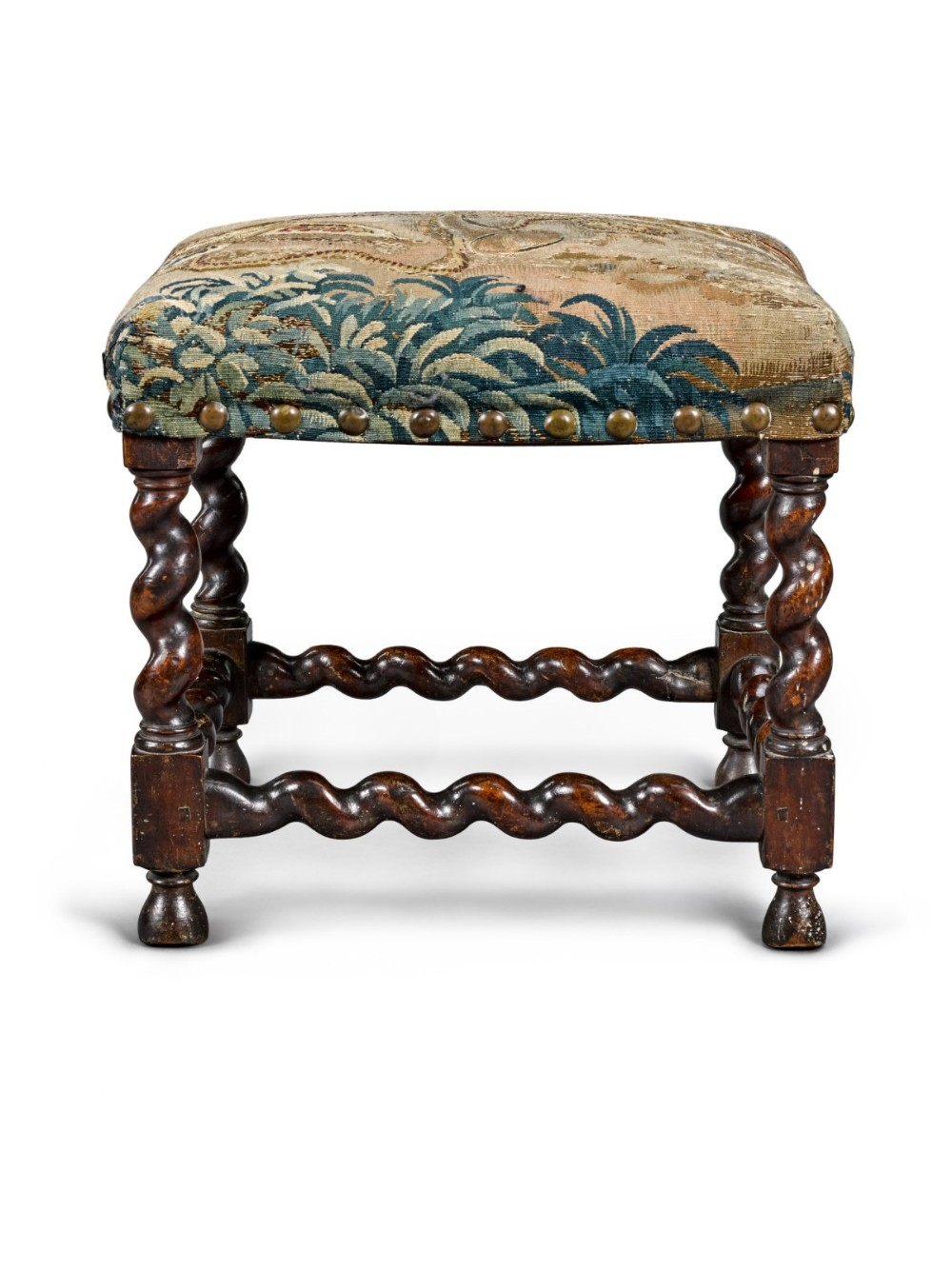 fine 17th century barley or solomonic twist baroque walnut stool with period tapestry