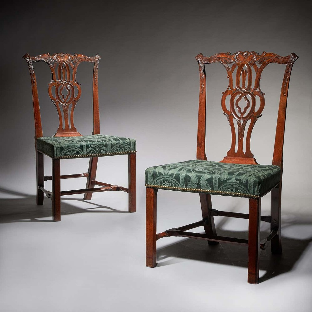 pair of 18th century george iii carved mahogany chippendale chairs