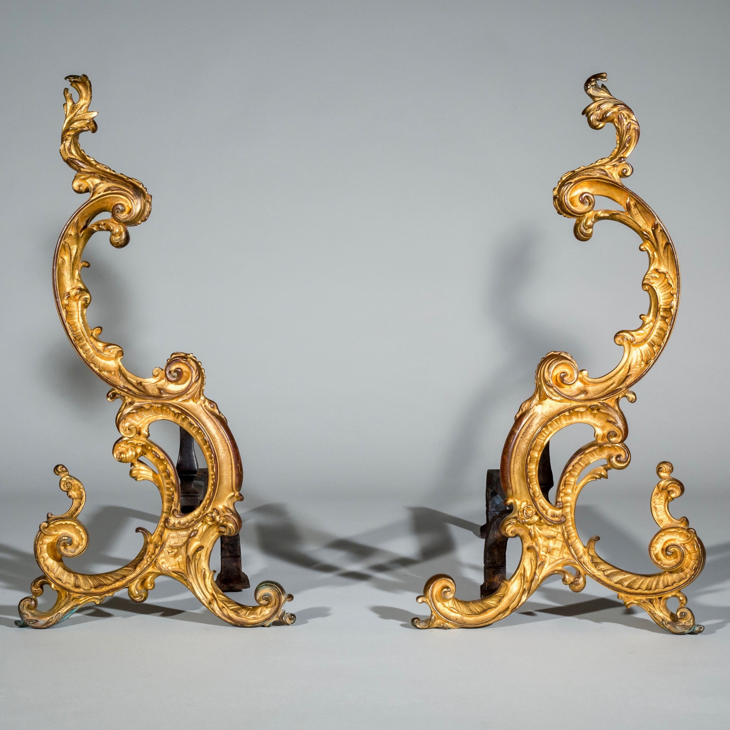 pair of 18thcentury english rococo gilt bronze andirons firedogs chennets