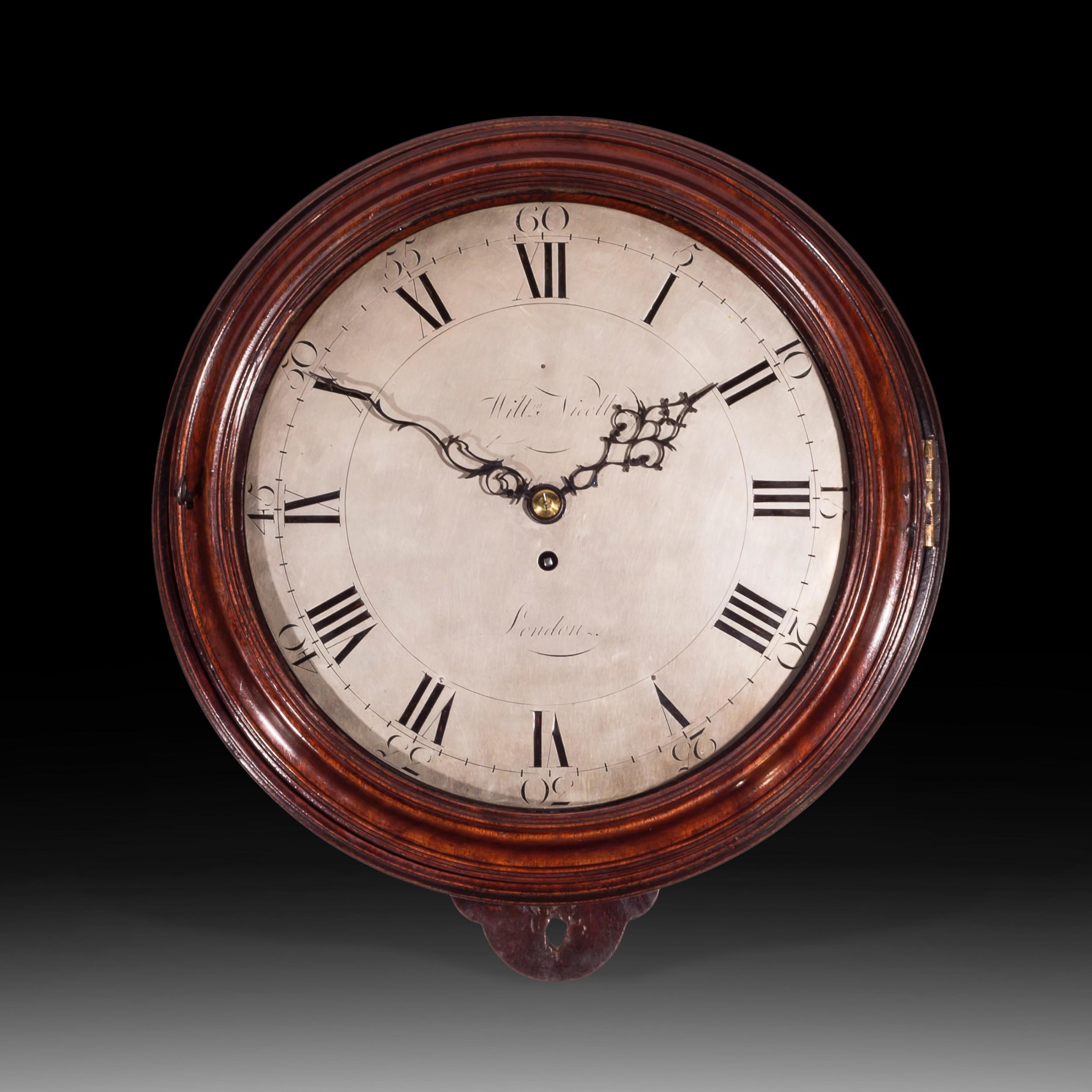 large mahogany 18thcentury dial clock william nicoll london