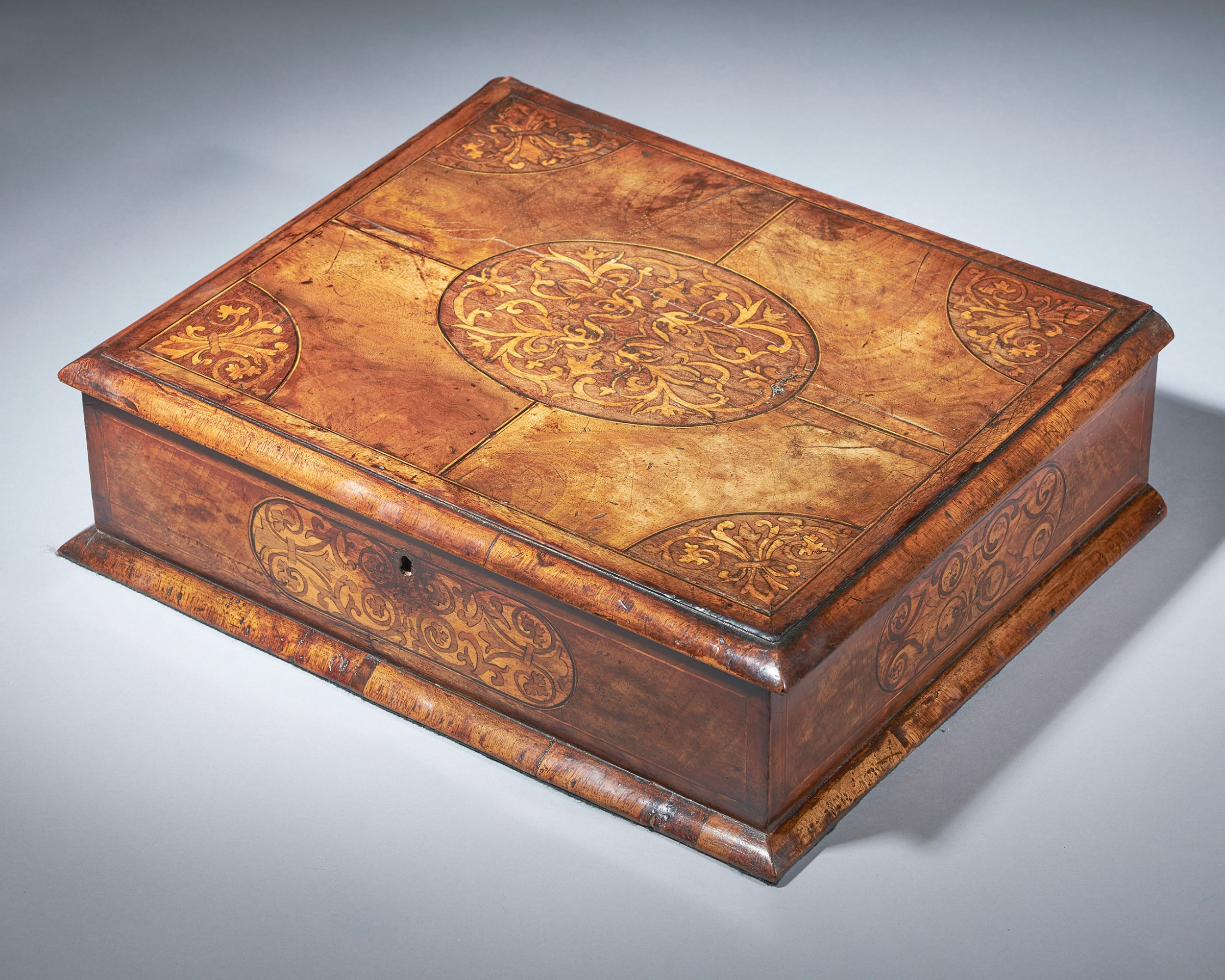a fine and rare 17th century figured walnut and seaweed marquetry lace box