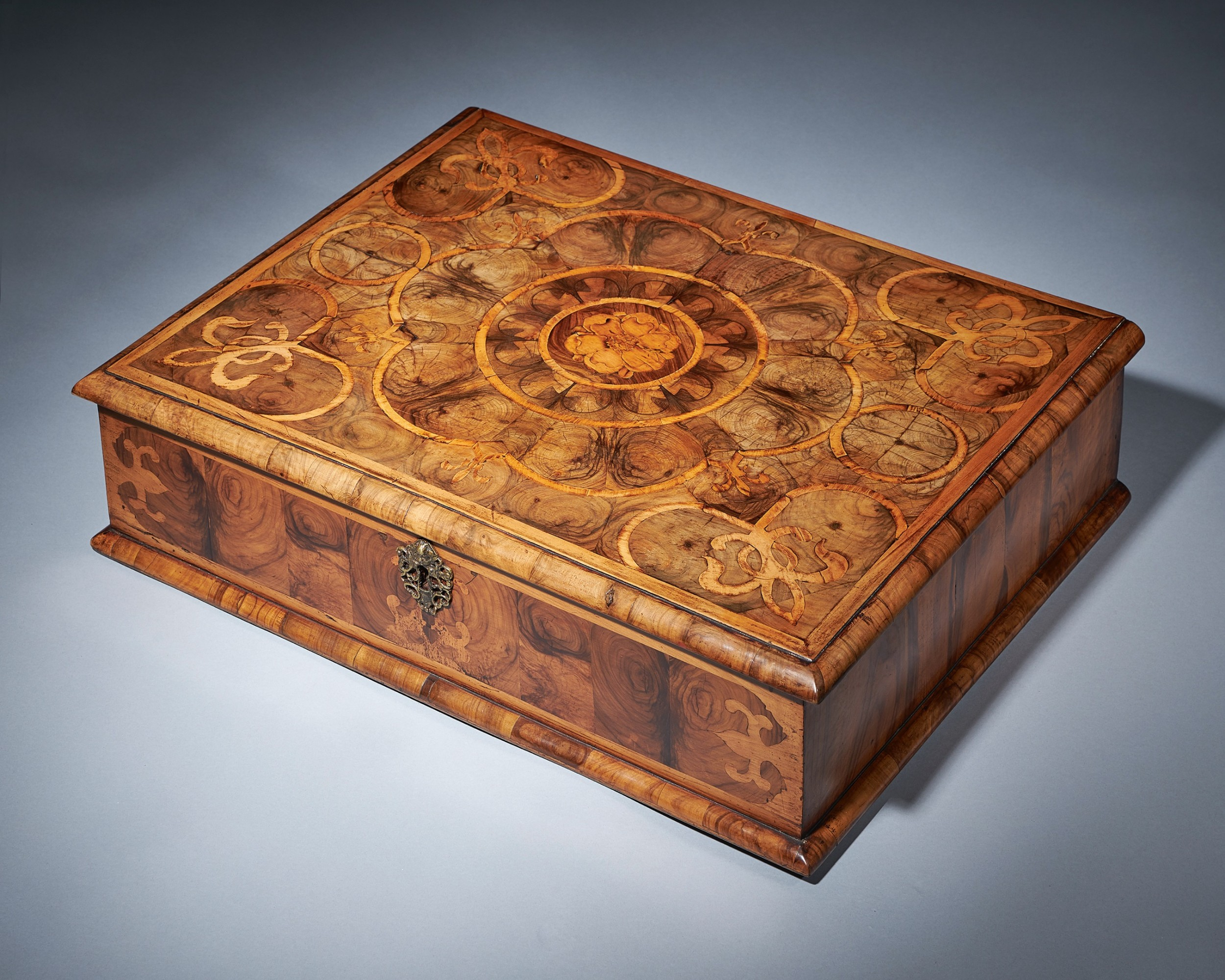 an exceptional blond olive oyster lacebox of large scale from the reign of charles ii circa 16751685