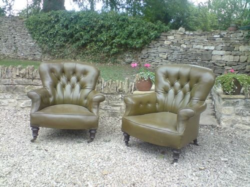 pair of victorian upholstered library chairs not made by howard and sons