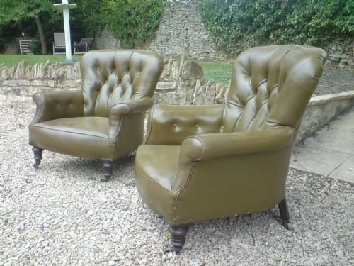 pair of victorian upholstered library chairs not made by howard and sons - photo angle #3