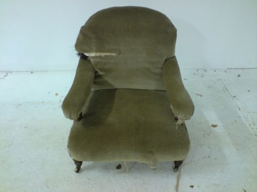 antique open arm library chair