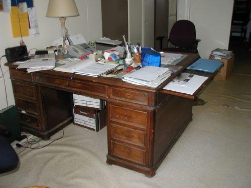 large mahogany antique pedestal desk