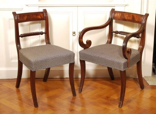 Set Of 18 Sabre Leg Regency Mahogany Antique Dining Chairs