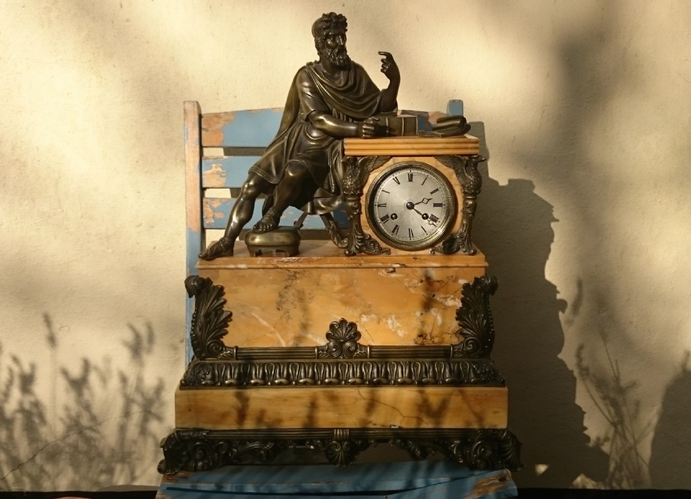 antique french mantel clock siena marble bronze castings
